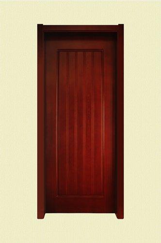 棕红色宽竖纹实木烤漆门