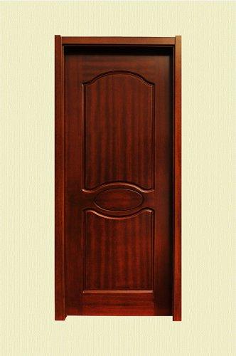 棕红色圆角纹理实木烤漆门