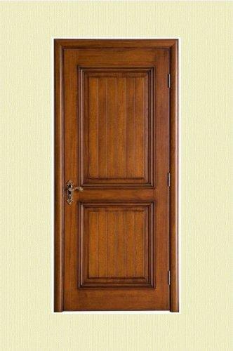 棕黄色雕刻实木烤漆门